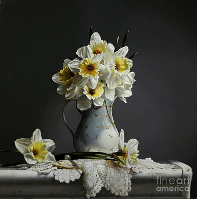Pitcher Painting - Daffodils by Larry Preston
