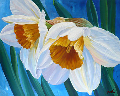 Painting - Daffodils Narcissus by Janet Zeh