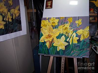 Painting - Daffodils Painting And Photo Model by Charlie Harris