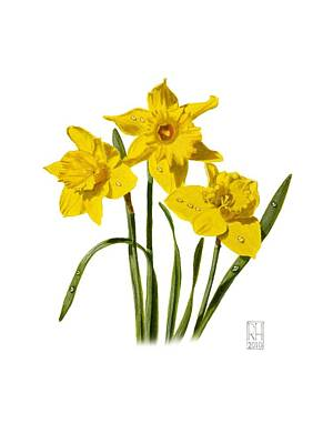 Daffodils Painting - Daffodils by Richard Harpum