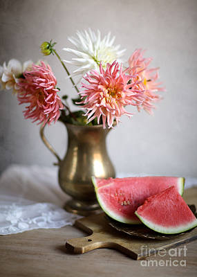 Vase Table Photograph - Dahlia And Melon by Nailia Schwarz
