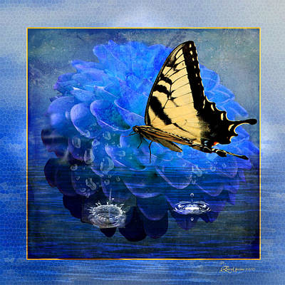 Dahlia And The Butterfly Art Print by EricaMaxine  Price