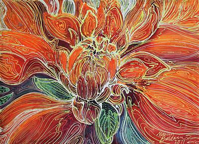 Fine Art Batik Painting - Dahlia Floral Abstract  by Marcia Baldwin