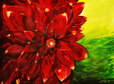 Cabin Wall Painting - Amy's Dahlia  by Chastity Hoff