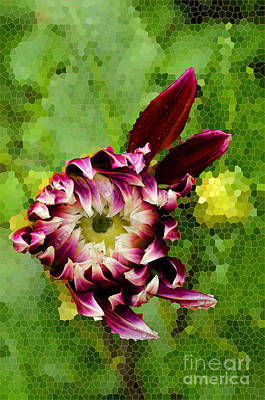 Digital Art - Dahlia With Stained Glass Background by Eva Kaufman