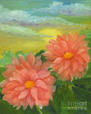 Painting - Dahlias At Sunrise  by Maria Williams