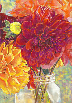 Dahlias In A Canning Jar Original by Nick Payne