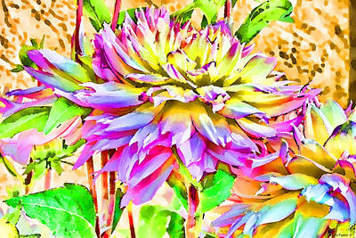 Art Print featuring the photograph Dahlias In Digital Watercolor by Sandra Foster