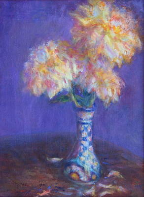 Painting - Dahlias In Mexican Vase - Original Oil Painting - Still Life - Flowers by Quin Sweetman