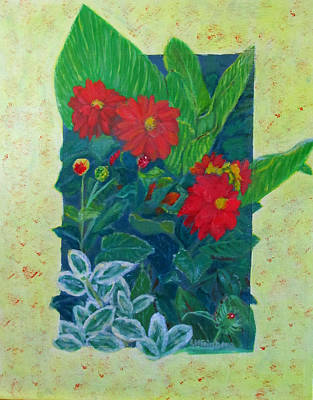 Dahlias Original by Linda Feinberg
