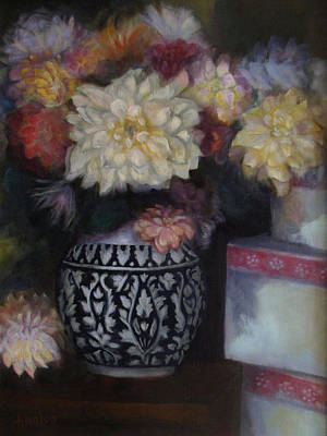 Painting - Dahlias by Susan Hanlon