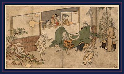 1753 Drawing - Daikagura, Lion Dance Of A Daikagura Performance. Ca by Kitagawa, Utamaro (1753 ? 1806), Japanese