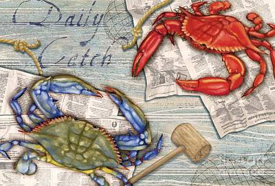 Postcard Painting - Daily Catch Crabs by Paul Brent