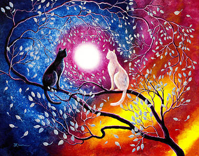 Cat Sunset Painting - Daily Nightly by Laura Iverson
