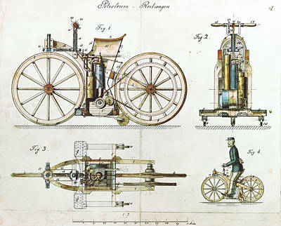 Inventions Painting - Daimler Reitwagen Color Drawing 1885 D Patent  by Celestial Images