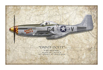 Black Painting - Dainty Dotty P-51d Mustang - Map Background by Craig Tinder