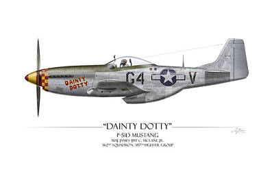 Dainty Dotty P-51d Mustang - White Background Art Print