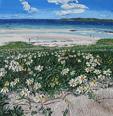 Painting - Daises In The Sand Coral Strand Conemara by Diana Shephard