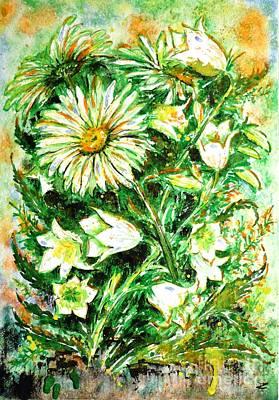 Painting - Daisies And Campanulas by Zaira Dzhaubaeva