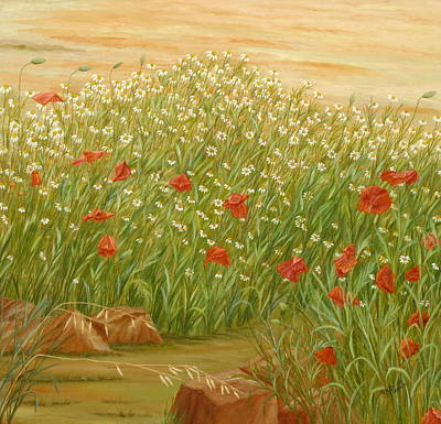 Andalucia Painting - Daisies And Poppies by Angeles M Pomata