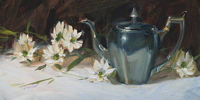 Teapot Painting - Daisies And Silver by Judy Crowe