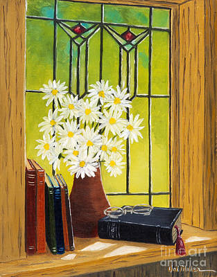 Painting - Daisies And Stained Glass Window by Val Miller