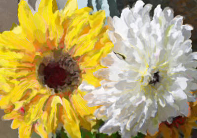 Painting - Daisies And Sunflowers - Impressionistic by Marie Jamieson
