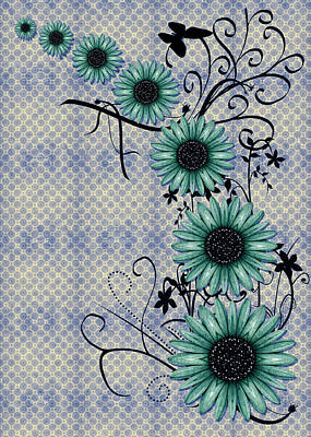 Daisies Digital Art - Daisies Design - S01-29c by Variance Collections