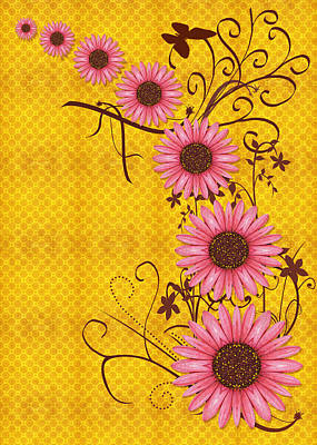 Daisy Digital Art - Daisies Design - S01y by Variance Collections