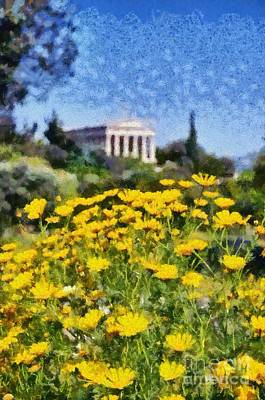 Hephaestus Wall Art - Painting - Daisies In Ancient Market Of Athens by George Atsametakis