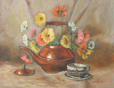 Teakettle Painting - Daisies In Copper Teapot by Jean Costa