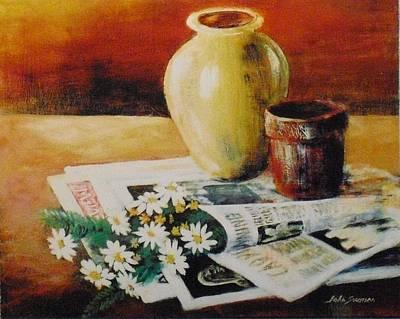 Daisies In The News Art Print by John  Svenson