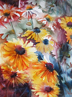 Art Print featuring the painting Daisies by Jani Freimann