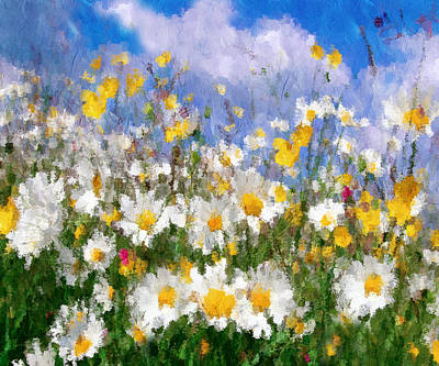Painting - Daisies On A Hill - Impressionism by Georgiana Romanovna