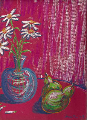 Daisies On Red Table Art Print