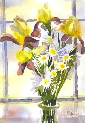 Interior Still Life Painting - Daisies With Yellow Irises by Kip DeVore