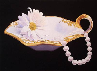 Flower Painting - Daisy And Pearls by Jean Yates