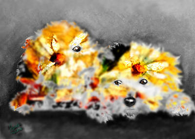 Daisy Animal Art Print by Marcello Cicchini