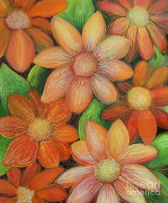 Reverse Acrylic On Plexiglass Painting - Daisy Bouquet by Anna Skaradzinska