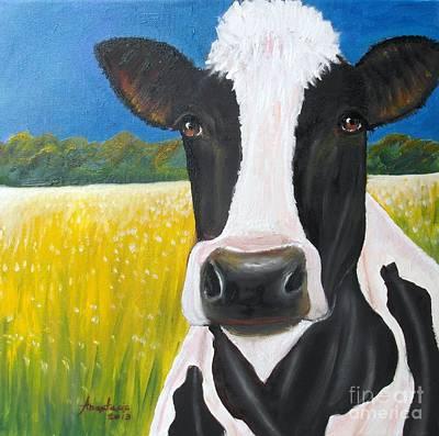 Daisy Cow Art Print by Anastasis  Anastasi