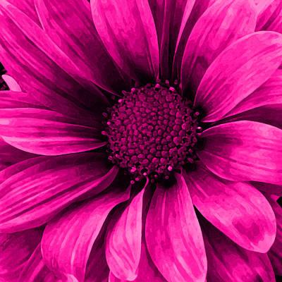 Center Mixed Media - Daisy Daisy Neon Pink by Angelina Vick