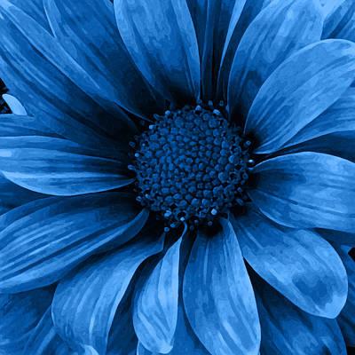 Center Mixed Media - Daisy Daisy Pure Blue by Angelina Vick