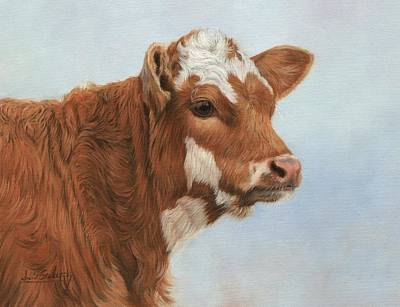 Cow Wall Art - Painting - Daisy by David Stribbling