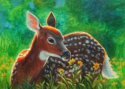 Whitetail Deer Painting - Daisy Deer by Crista Forest