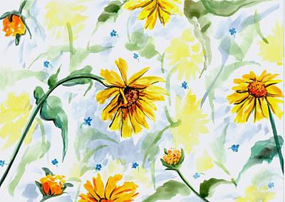 Daisy Drawing - Daisy Design by Barbara Beck-Azar