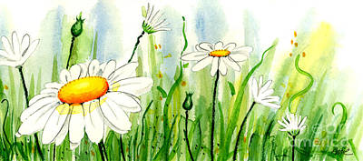 Daisy Field 2 Of 2 Art Print by Annie Troe