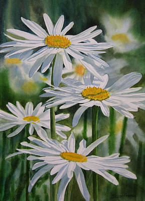 White Daisy Painting - Daisy Garden by Sharon Freeman