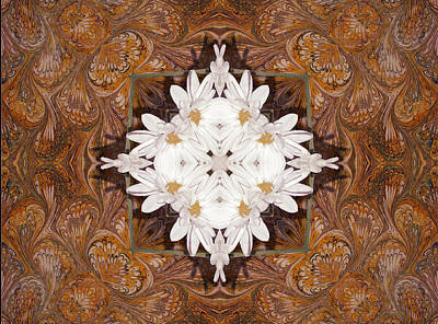 Kaleidoscope Digital Art - Daisy Pattern Mandakal - L0103b by Variance Collections