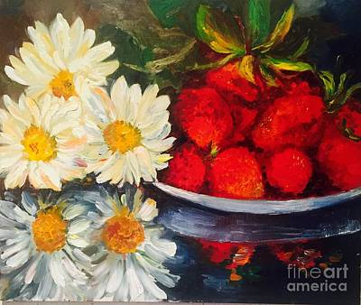 Painting - Daisy-strawberry  by Irene Pomirchy