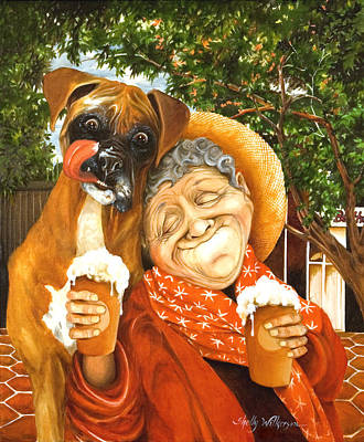 Old Lady Painting - Daisy's Mocha Latte by Shelly Wilkerson